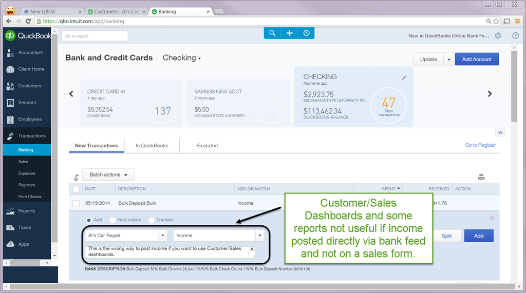 QuickBooks Online Bank Feed