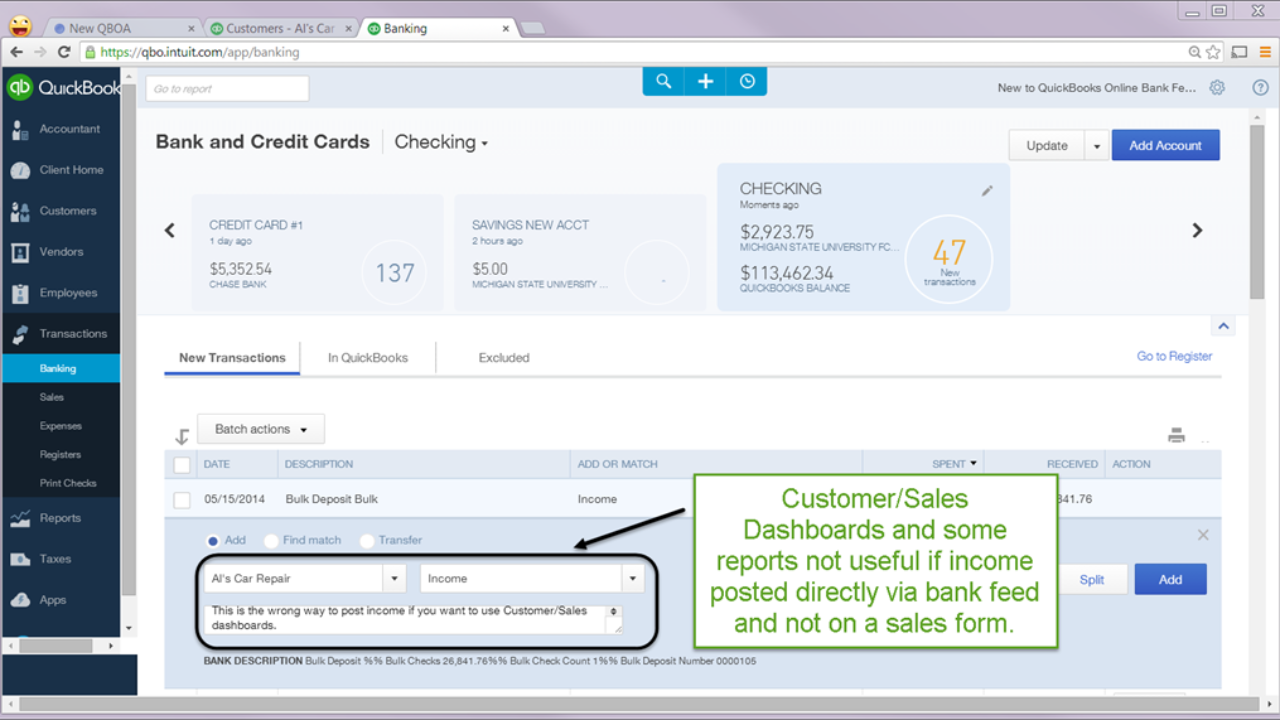 Learning the basics of QuickBooks Online Bank Feeds - Just Lezen